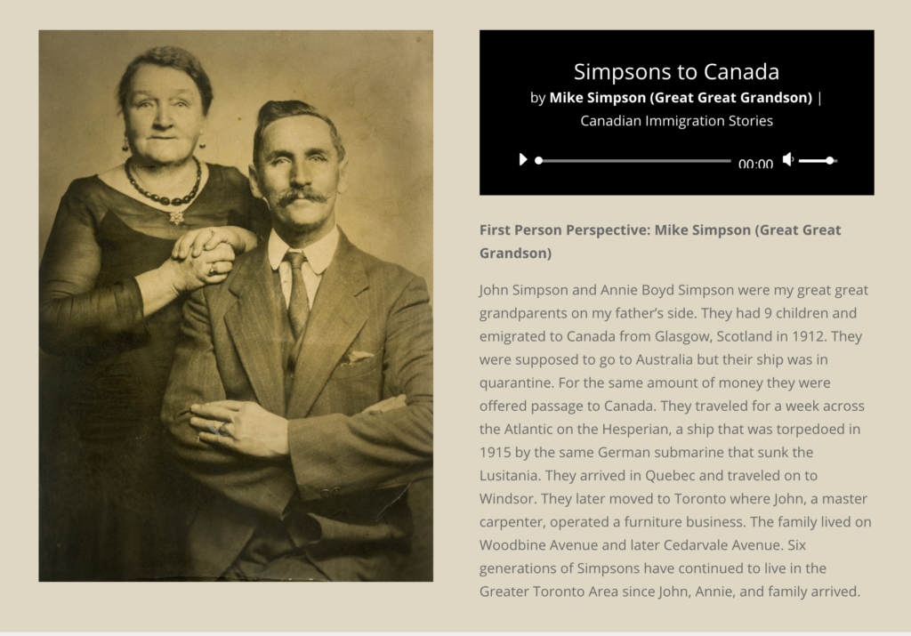 Scots to Canada website with audio player
